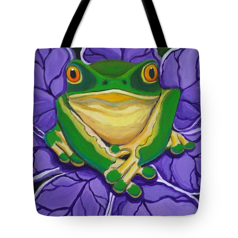 Frog Painting Tote Bag featuring the painting Green Frog by Nick Gustafson