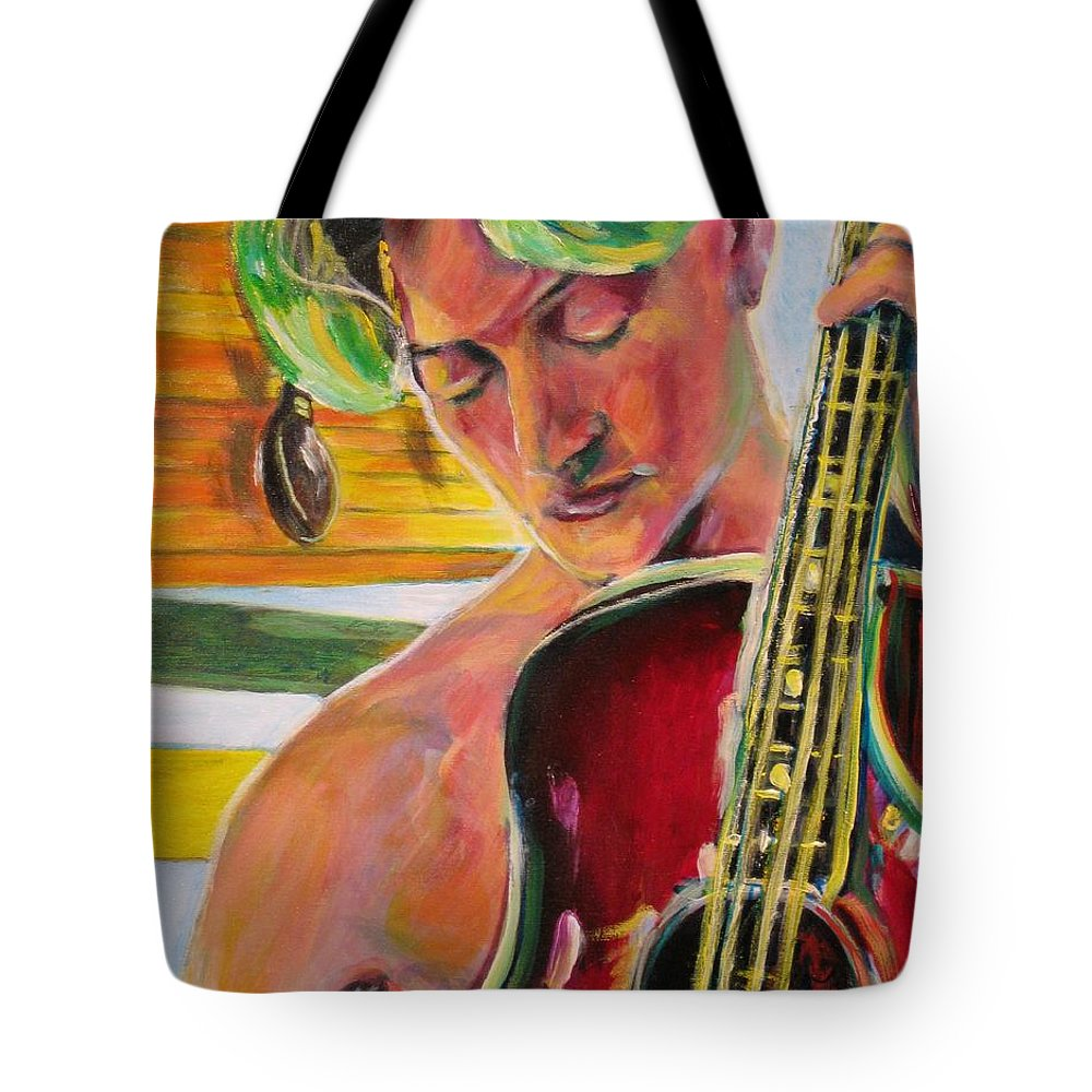Boy Tote Bag featuring the painting Green Hair Red Bass by Dennis Tawes
