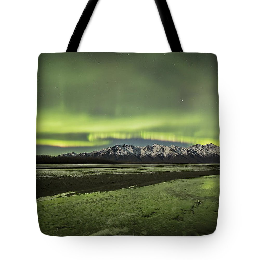 Aurora Tote Bag featuring the photograph Green Ice by Matt Skinner