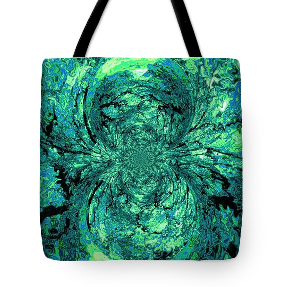 Green Tote Bag featuring the digital art Green Irrevelance by Charleen Treasures