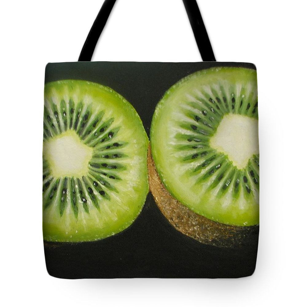 Kiwi Tote Bag featuring the painting Green Kiwi Oil Painting by Natalja Picugina