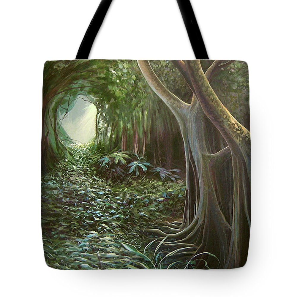 Barbados Tote Bag featuring the painting Green Mansions by Hunter Jay