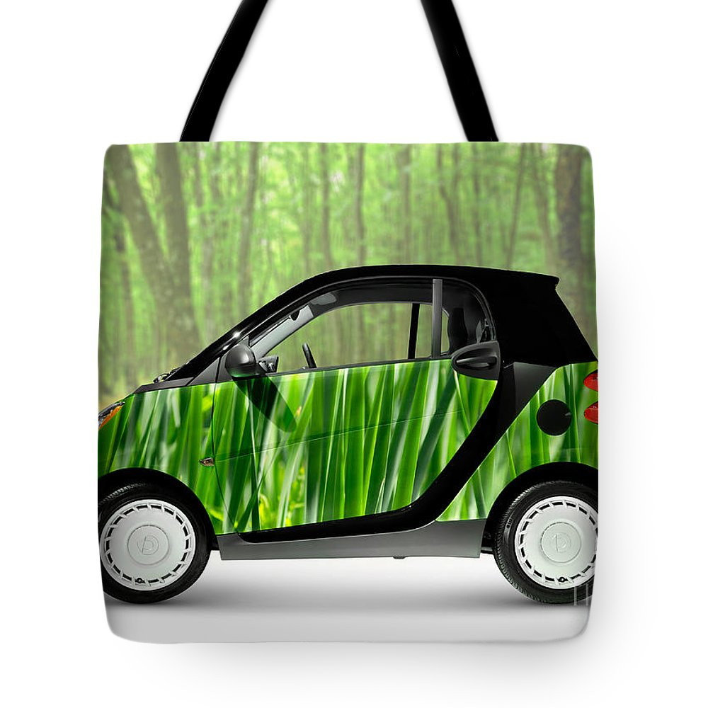 Smart Tote Bag featuring the photograph Green Mini Car by Maxim Images Prints