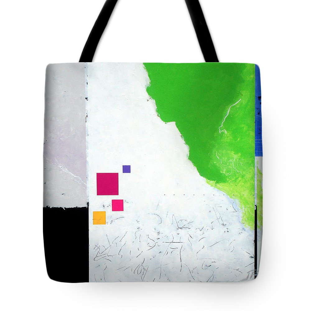 Abstract Tote Bag featuring the painting Green Movement by Jean Pierre Rousselet