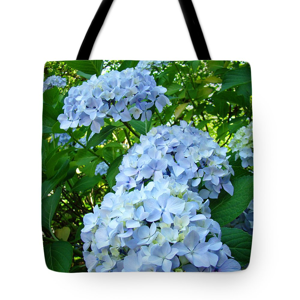 Nature Tote Bag featuring the photograph Green Nature Landscape Art Prints Blue Hydrangeas Flowers by Baslee Troutman