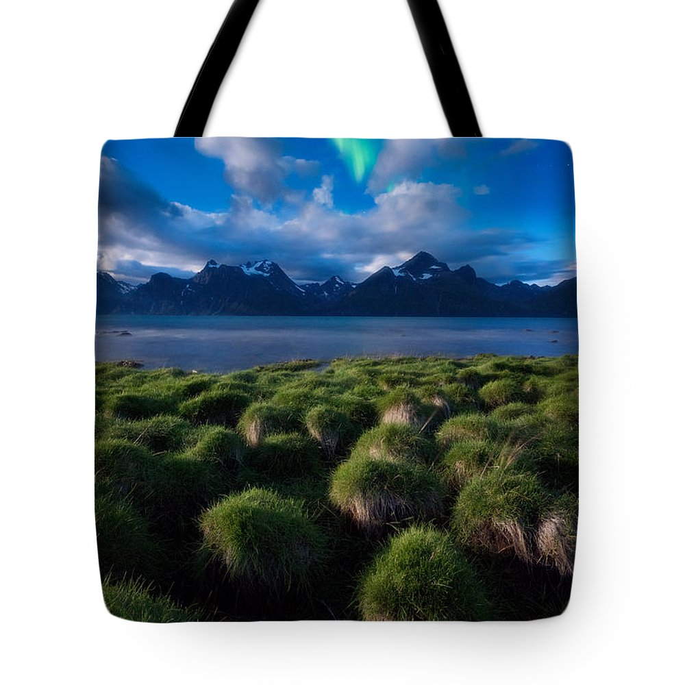 Aurora Borealis Tote Bag featuring the photograph Green Night by Tor-Ivar Naess