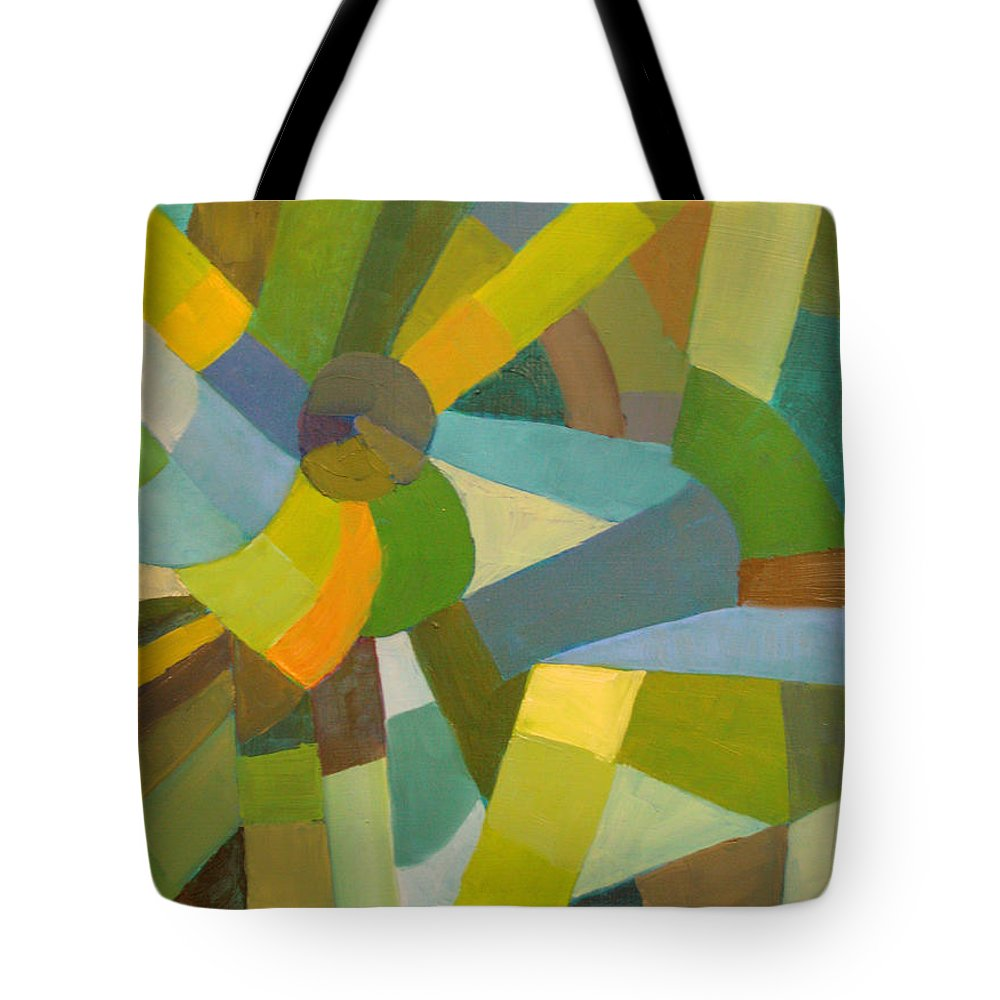 Green Tote Bag featuring the painting Green Pallette by Art Nomad Sandra Hansen