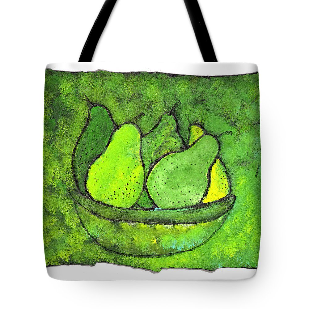 Greem. Pears Tote Bag featuring the painting Green Pears by Wayne Potrafka