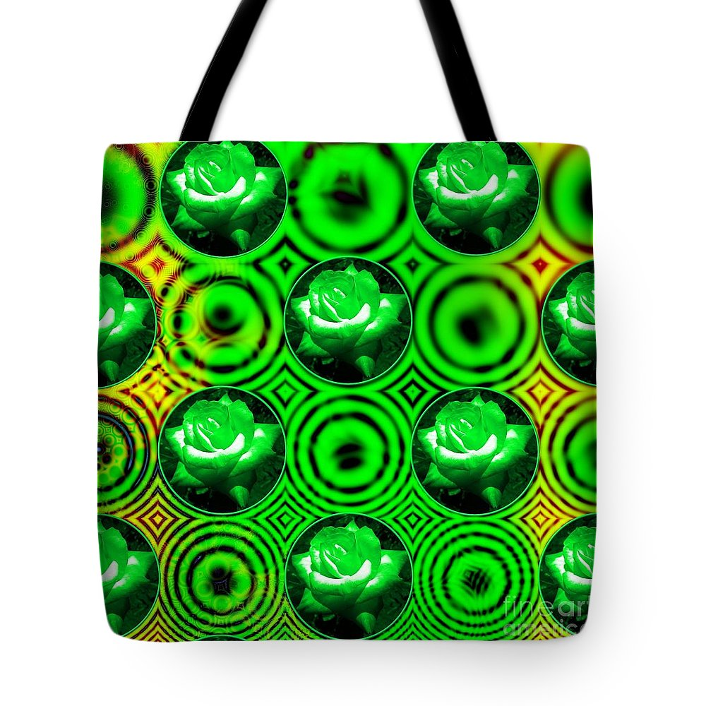 Green Roses Tote Bag featuring the mixed media Green Polka Dot Roses Fractal by Rose Santuci-Sofranko