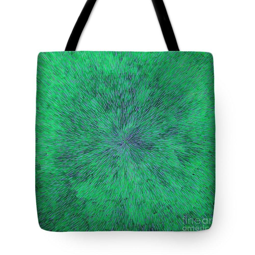Abstract Tote Bag featuring the painting Green Radation With Violet by Dean Triolo