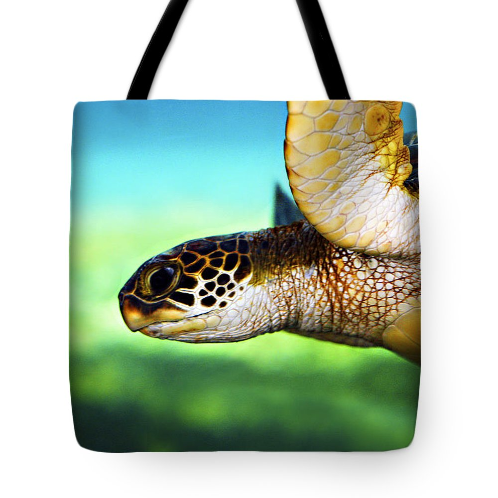 Green Tote Bag featuring the photograph Green Sea Turtle by Marilyn Hunt