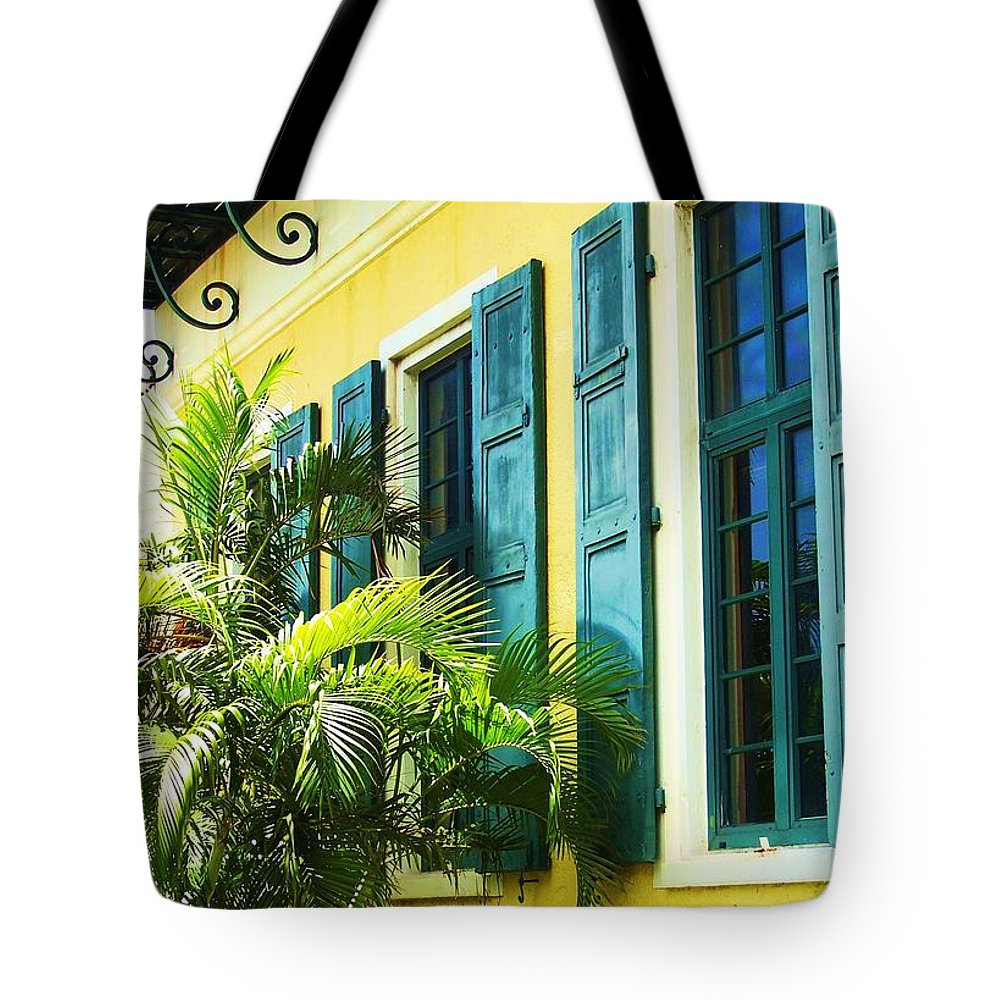 Architecture Tote Bag featuring the photograph Green Shutters by Debbi Granruth