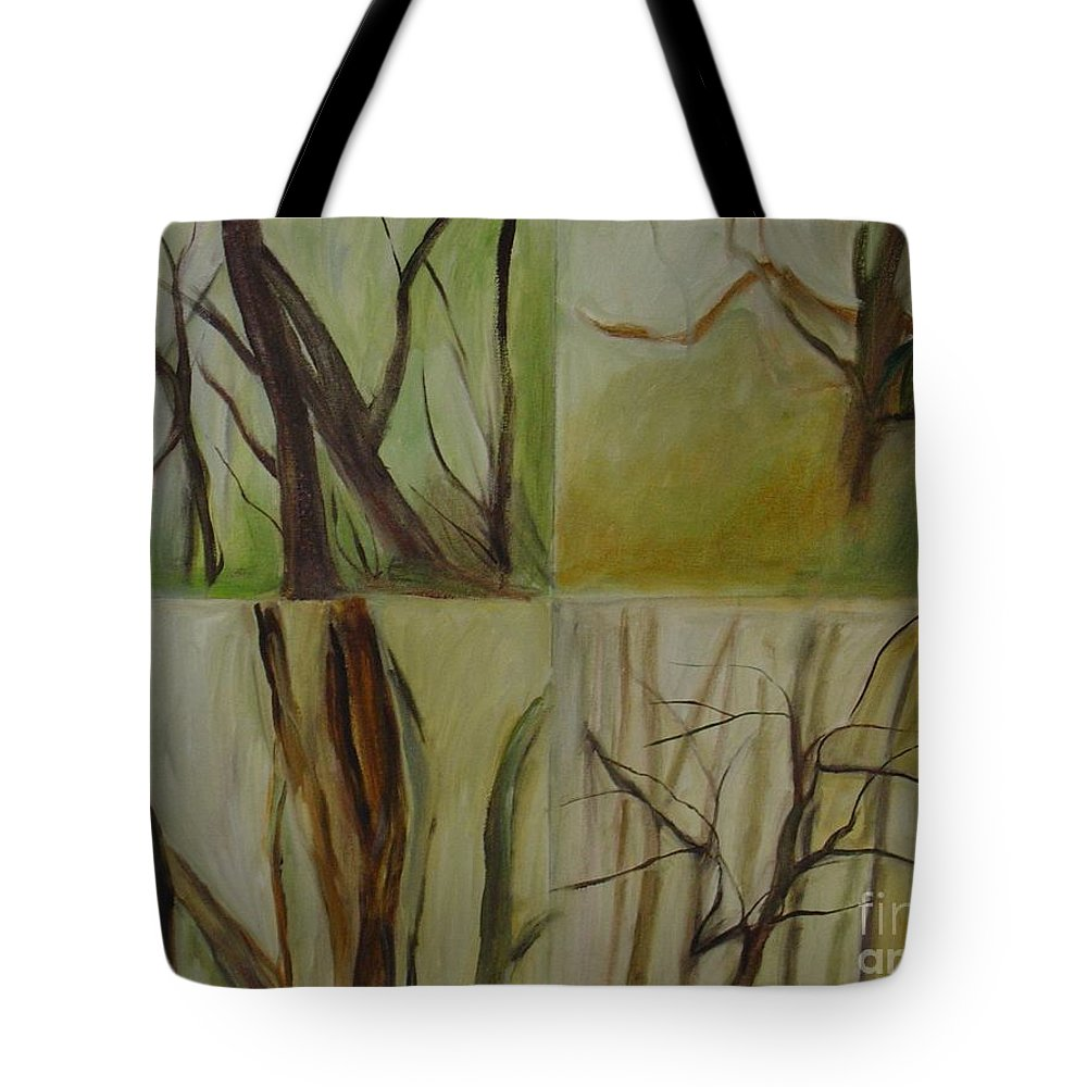 Spring Young Trees Saplings Trees Tote Bag featuring the painting Green Sonnet by Leila Atkinson
