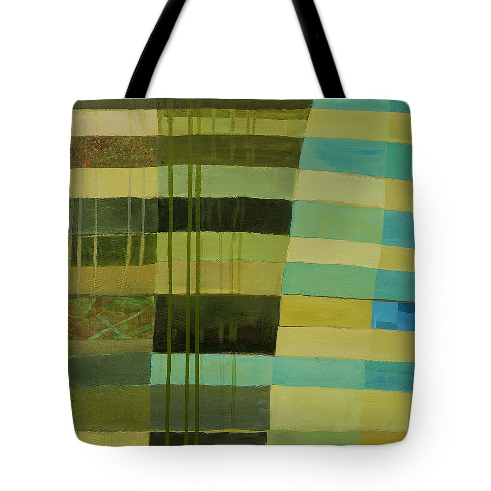 Abstract Art Tote Bag featuring the painting Green Stripes 1 by Jane Davies