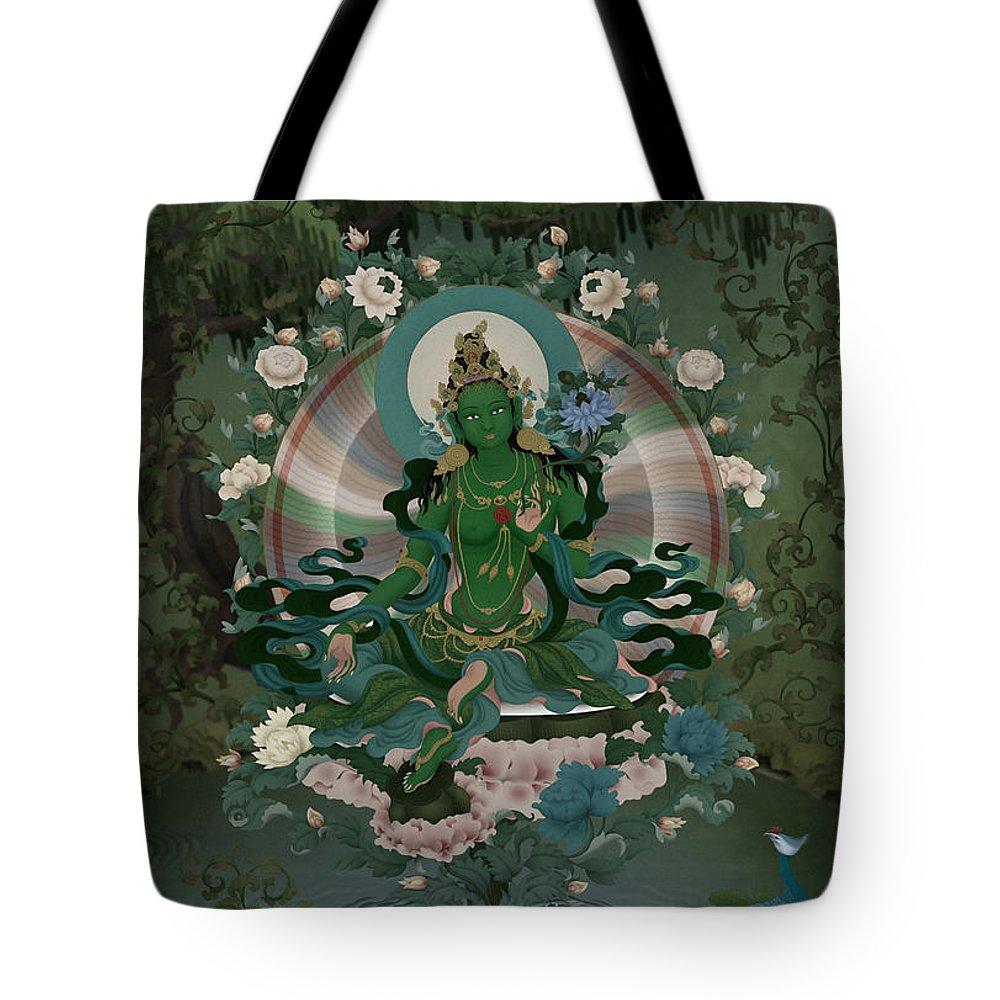 Green Tara Thangka Tibetan Buddhism Deity Amitabha Phoenix Emerald Tote Bag featuring the digital art Green Tara by Ben Christian