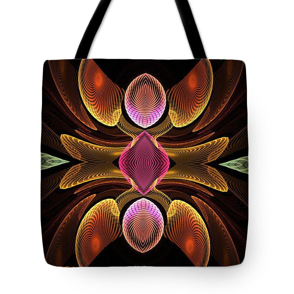 Digital Tote Bag featuring the digital art Green Teardrops by Deborah Benoit