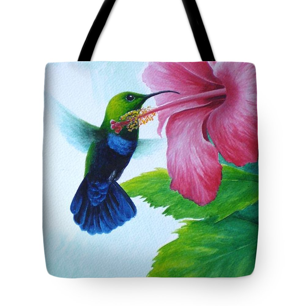 Green-throated Carib Hummingbird Tote Bag featuring the painting Green-throated Carib And Pink Hibiscus by Christopher Cox