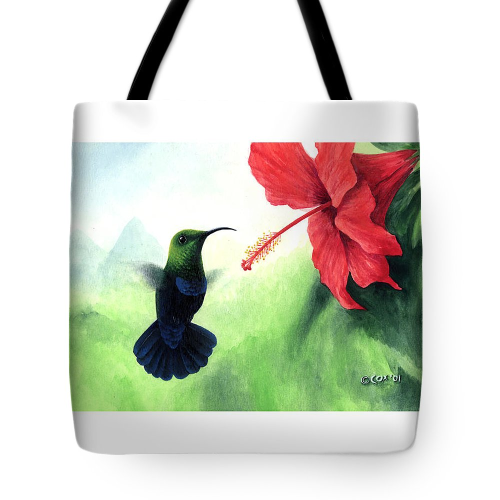 Chris Cox Tote Bag featuring the painting Green-throated Carib Hummingbird and red hibiscus by Christopher Cox