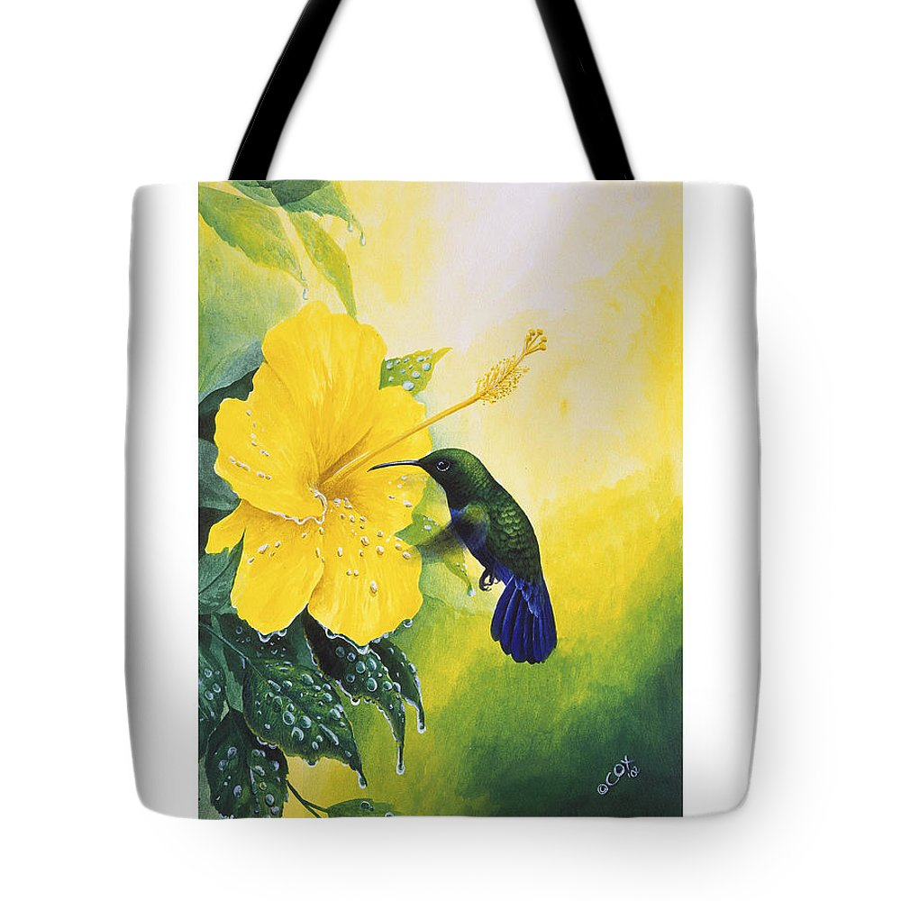 Chris Cox Tote Bag featuring the painting Green-throated Carib Hummingbird And Yellow Hibiscus by Christopher Cox
