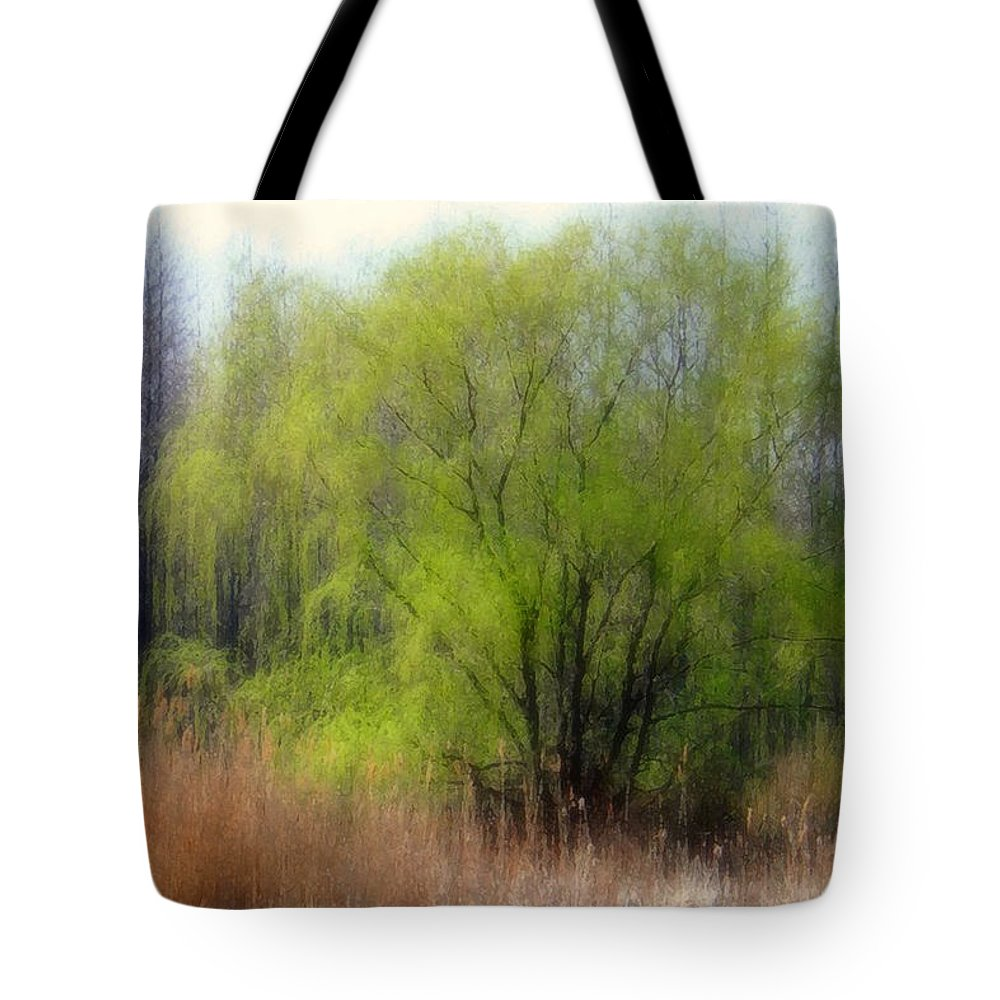 Scenic Art Tote Bag featuring the photograph Green Tree by Linda Sannuti