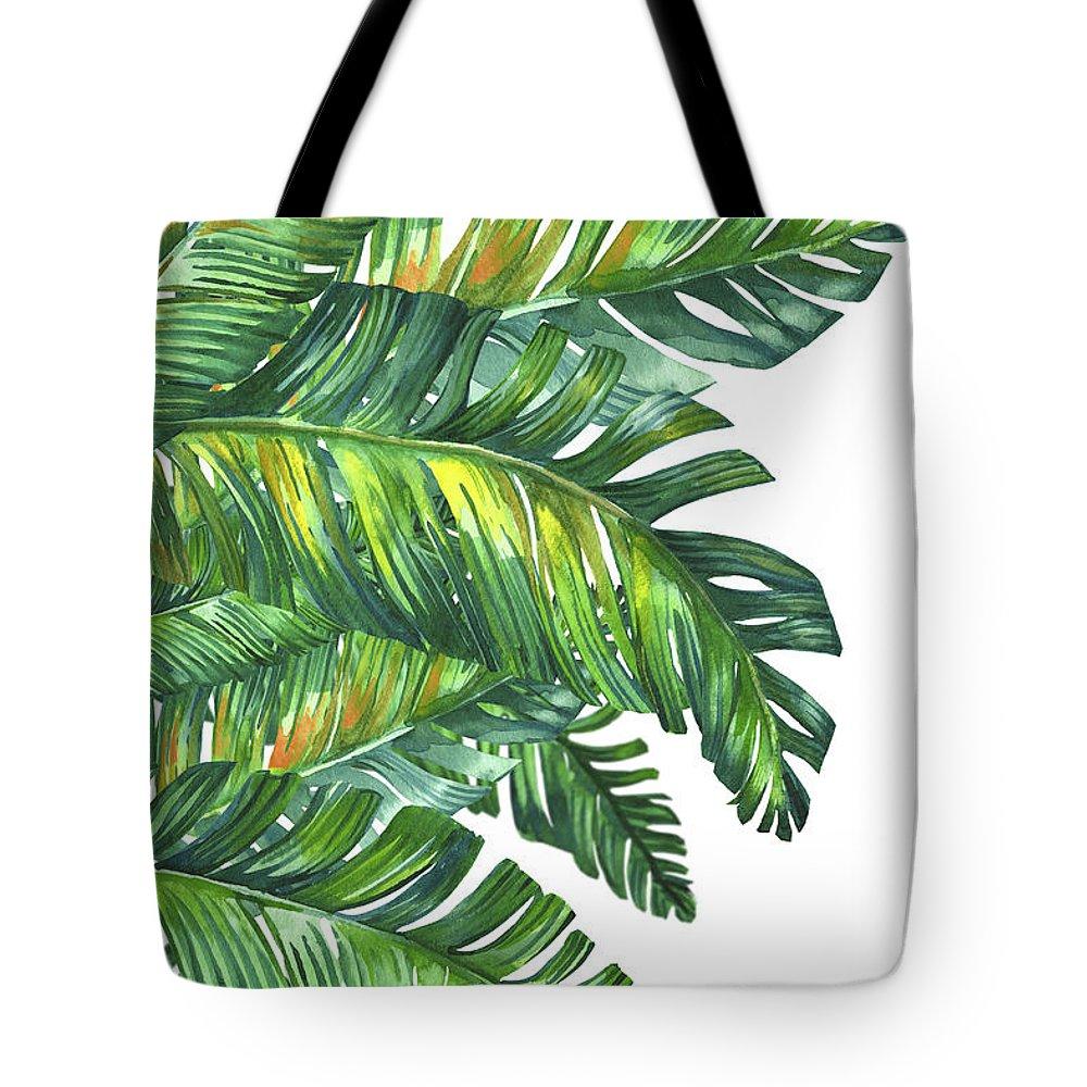 Summer Tote Bag featuring the digital art Green Tropic by Mark Ashkenazi