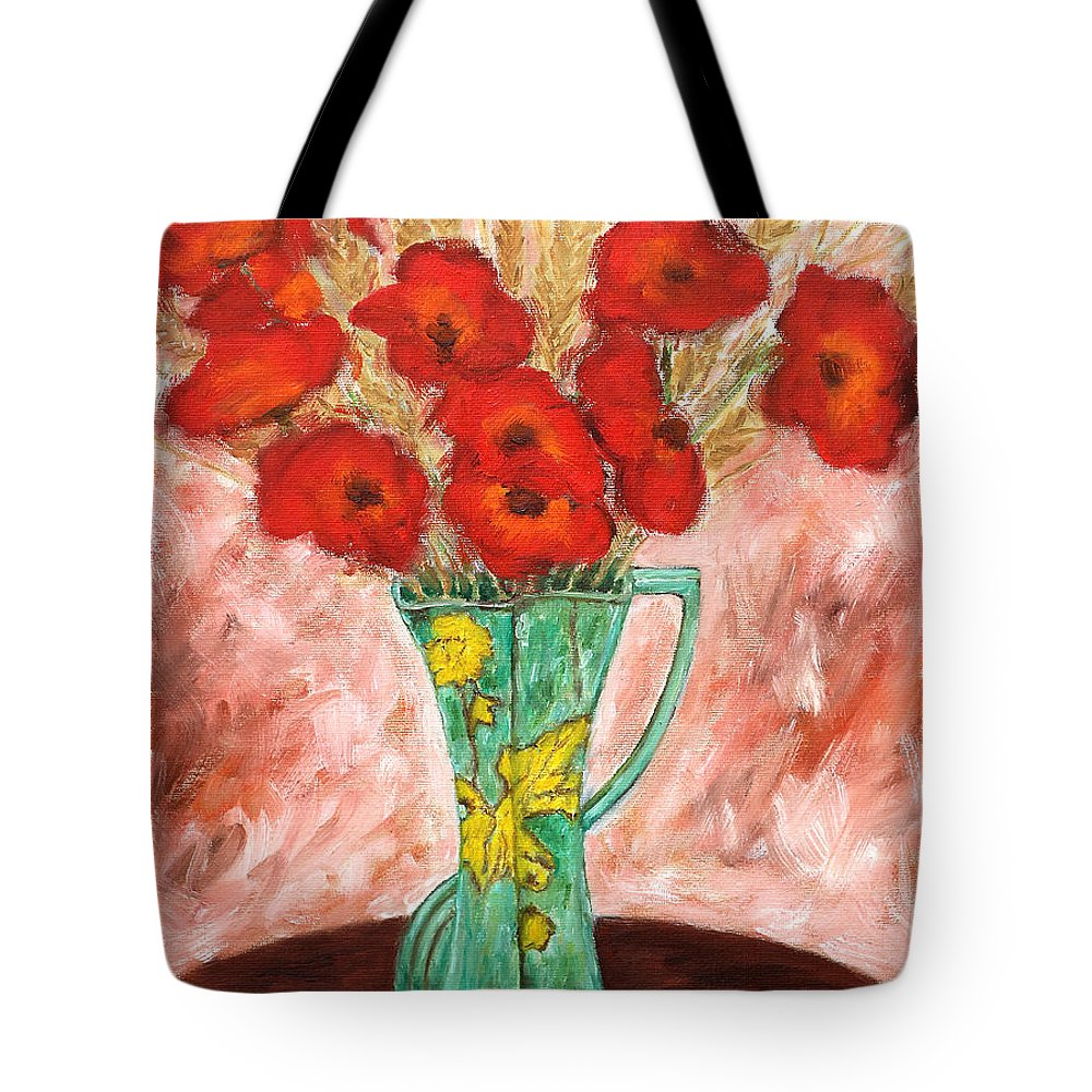 Valentine Tote Bag featuring the painting Green Vase And Poppies by Patrick J Murphy