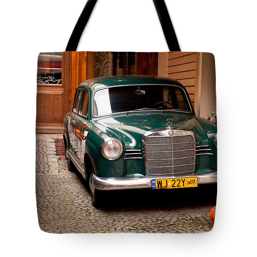 Green vintage mercedes benz car tote bag for sale by for Mercedes benz handbags