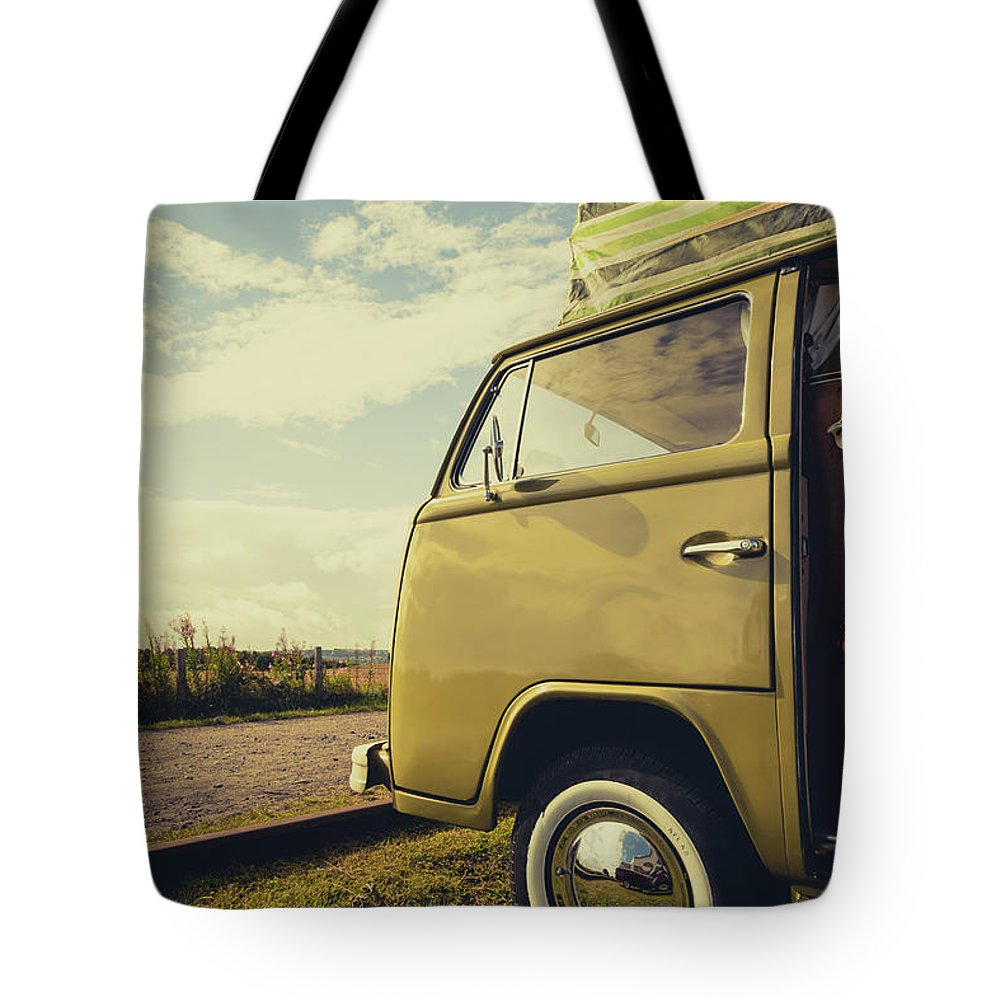 Retro Tote Bag featuring the photograph Green Vw T2 Camper Van 02 by Richard Nixon