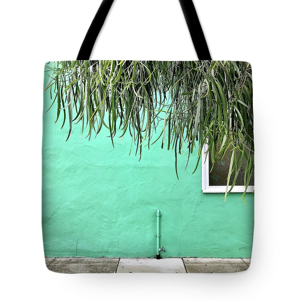 Tote Bag featuring the photograph Green Wall With Leaves by Julie Gebhardt
