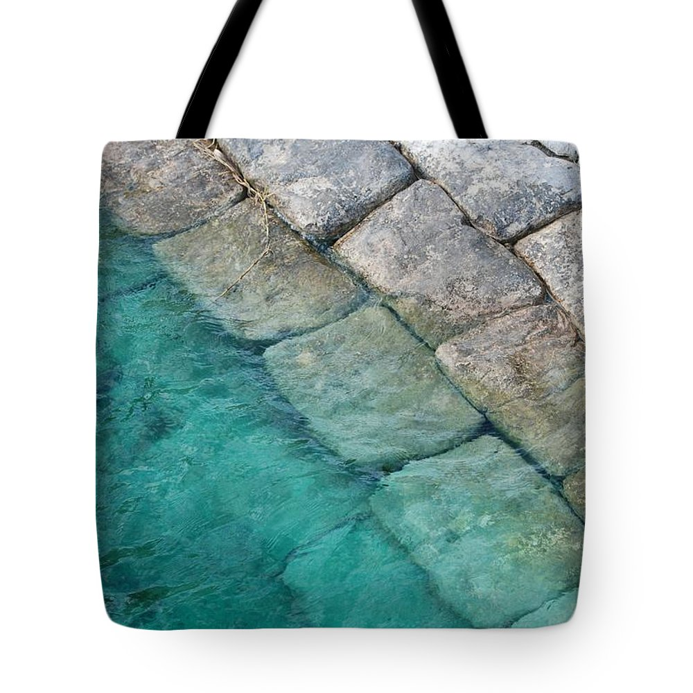 Water Blocks Bricks Tote Bag featuring the photograph Green Water Blocks by Rob Hans