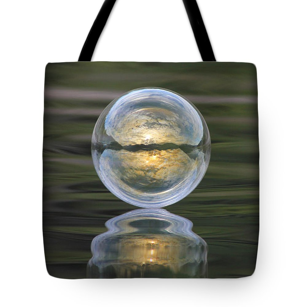 Green Tote Bag featuring the photograph Green Waters And Cloudy Skies by Cathie Douglas
