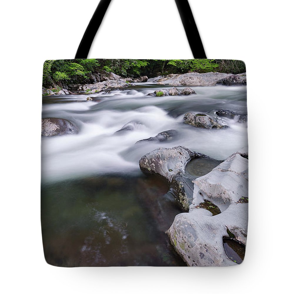 Gatlinburg Tote Bag featuring the photograph Greenbrier Water Cascade by Richard Sandford