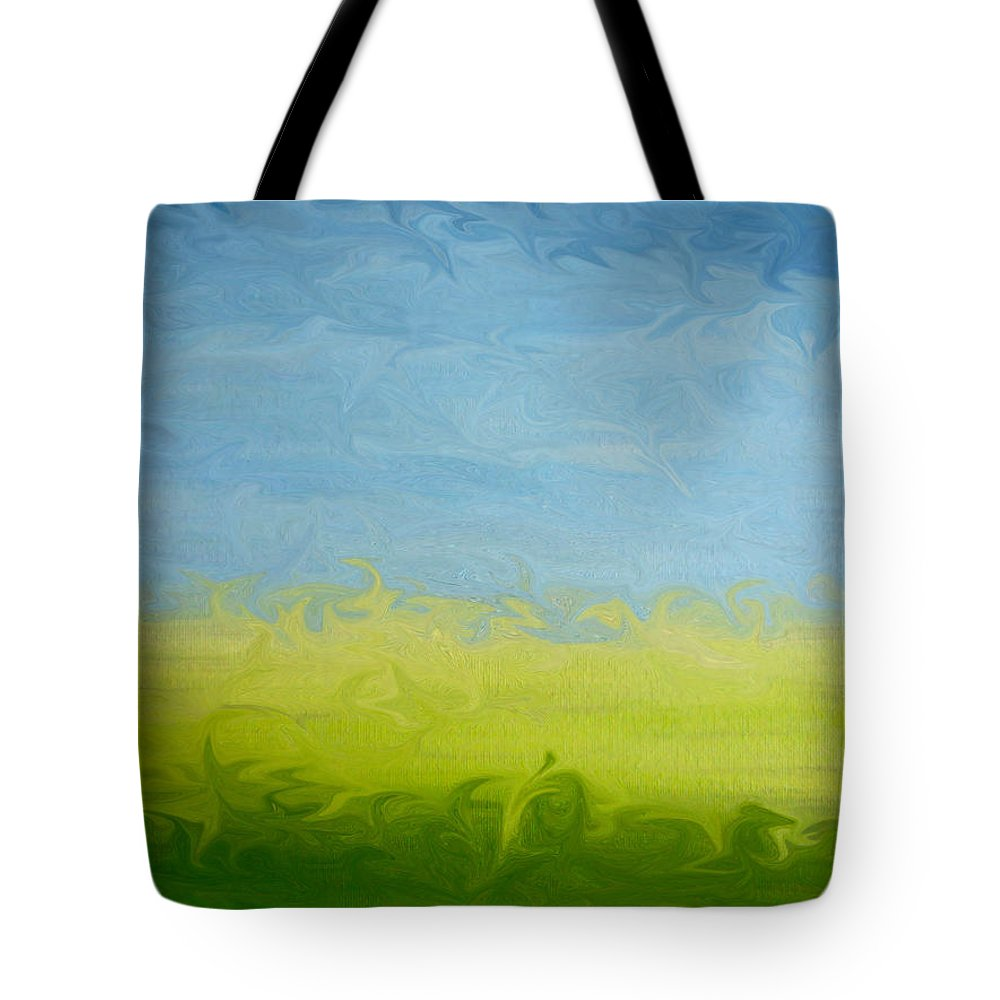 Pasture Tote Bag featuring the painting Greener Pasture 3- Digital Painting by Kathy Symonds