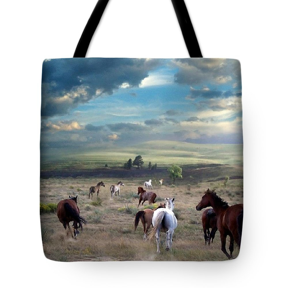 Horses Tote Bag featuring the mixed media Greener Pastures by Bill Stephens