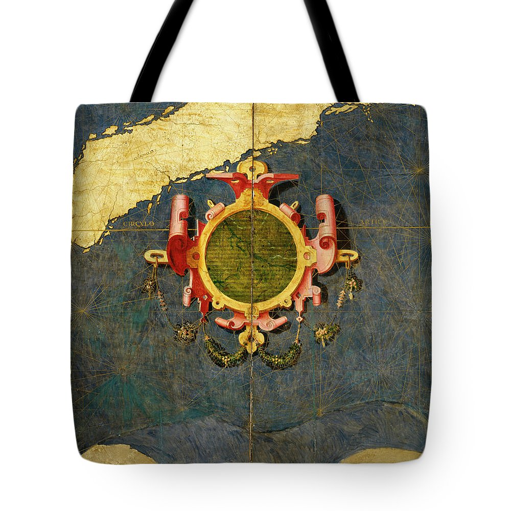 Map Tote Bag featuring the painting Greenland by Italian painter of the 16th century