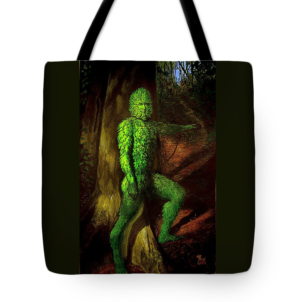 Myth Tote Bag featuring the mixed media Greenman by Will Brown
