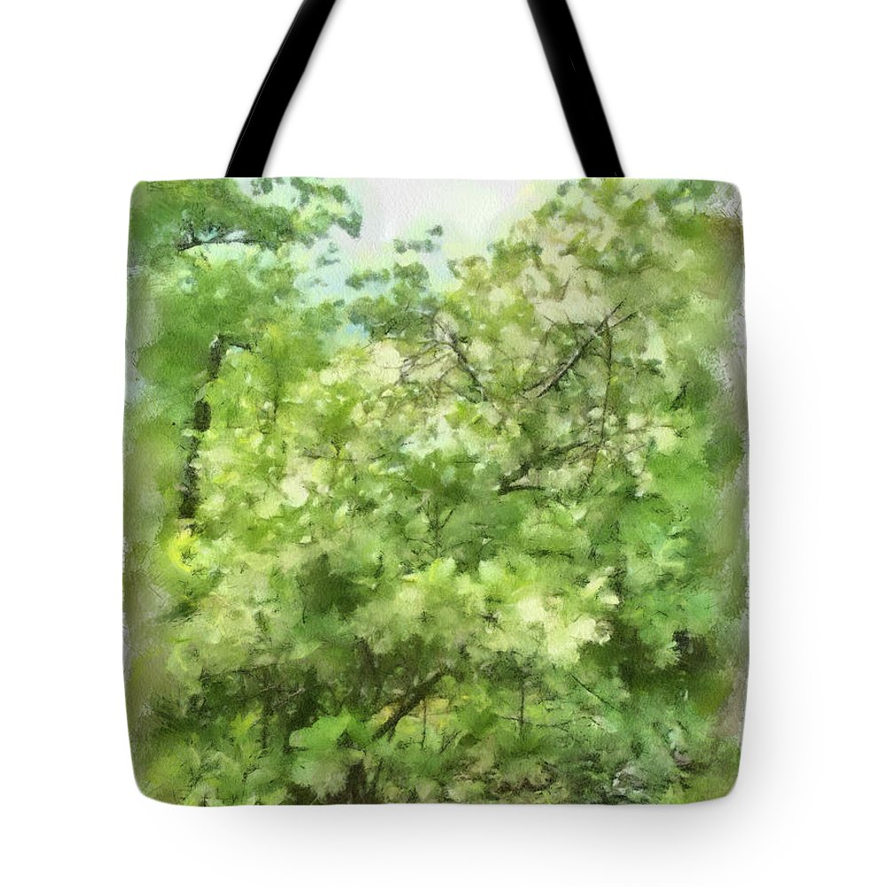 Green Tote Bag featuring the painting Greenstone Trail by Paulette B Wright