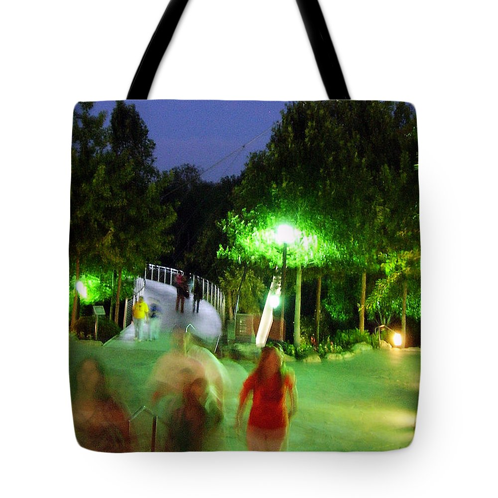 Falls Park Tote Bag featuring the photograph Greenville At Night by Flavia Westerwelle