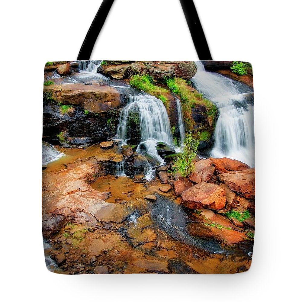 Nature Tote Bag featuring the photograph Greenville's Reedy River Falls, South Carolina by Zayne Diamond Photographic