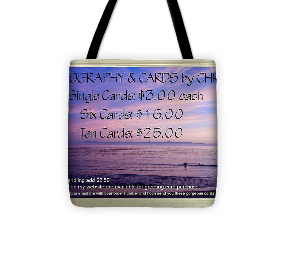 Card Tote Bag featuring the photograph Greeting Card Pricing Info by Chris Berry