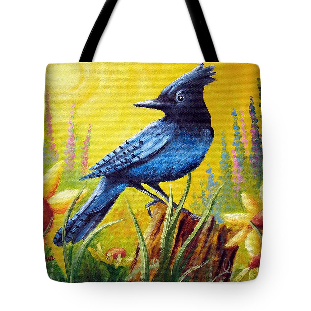 Bird Tote Bag featuring the painting Greeting The Day by David G Paul