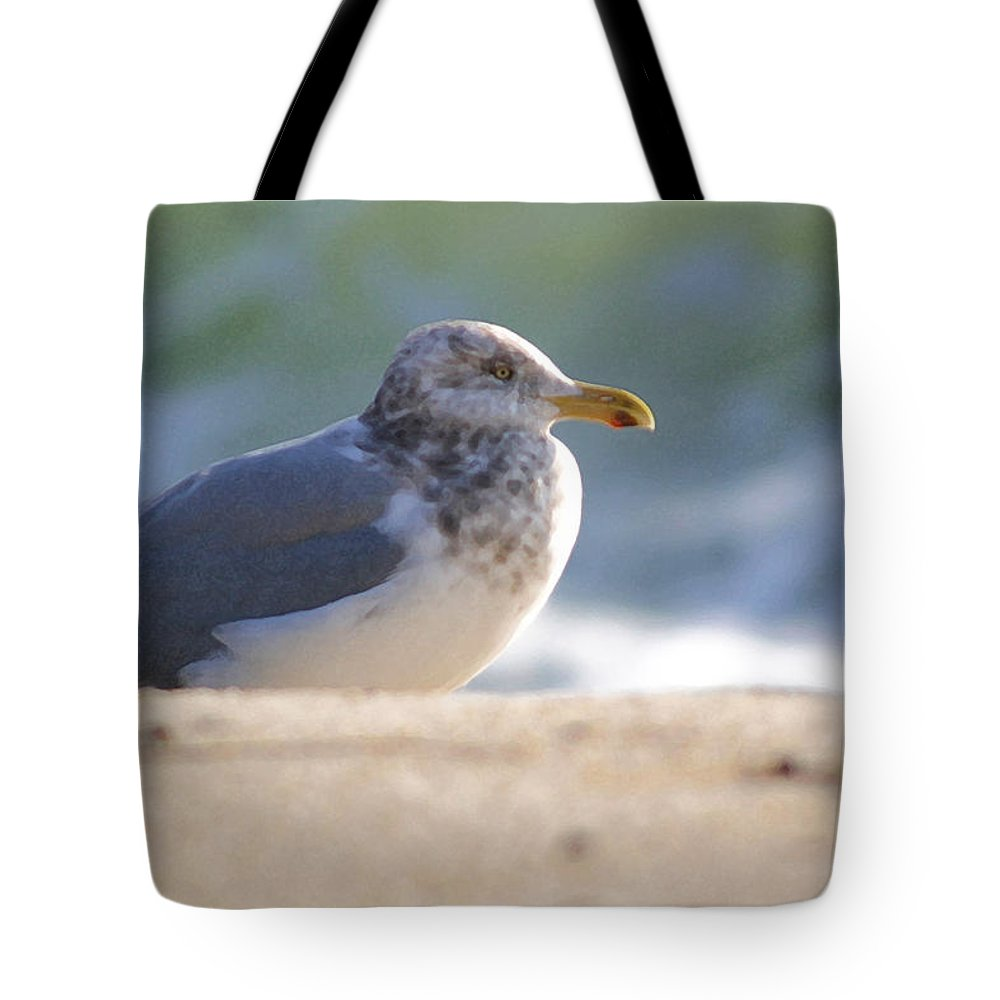 Seagull Tote Bag featuring the photograph Greeting The Morning by Mary Haber