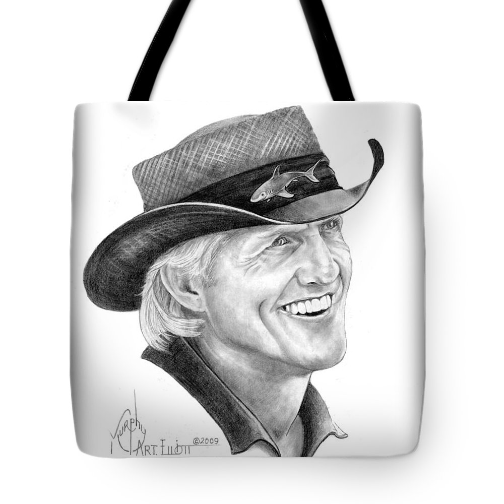 Greg Norman Tote Bag featuring the drawing Greg Norman by Murphy Elliott