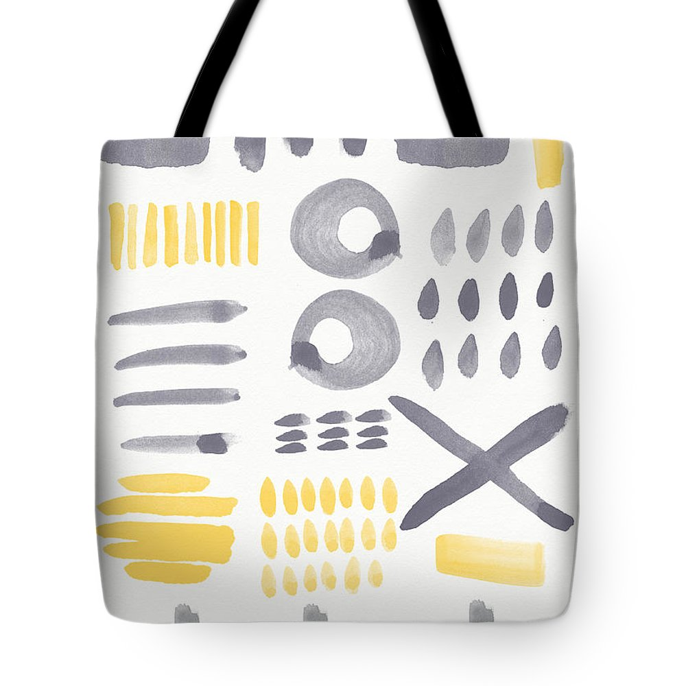 Grey And Yellow Tote Bag featuring the painting Grey and Yellow Shapes- abstract painting by Linda Woods