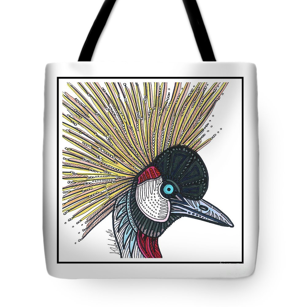 Tote Bag featuring the drawing Grey Crowned Crane #52 by Allie Rowland