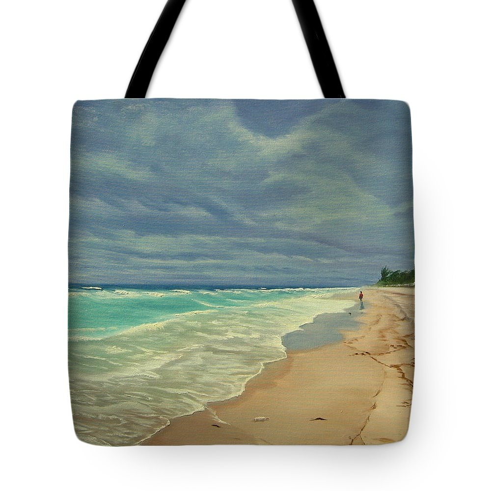 Beach Tote Bag featuring the painting Grey Day On The Beach by Lea Novak