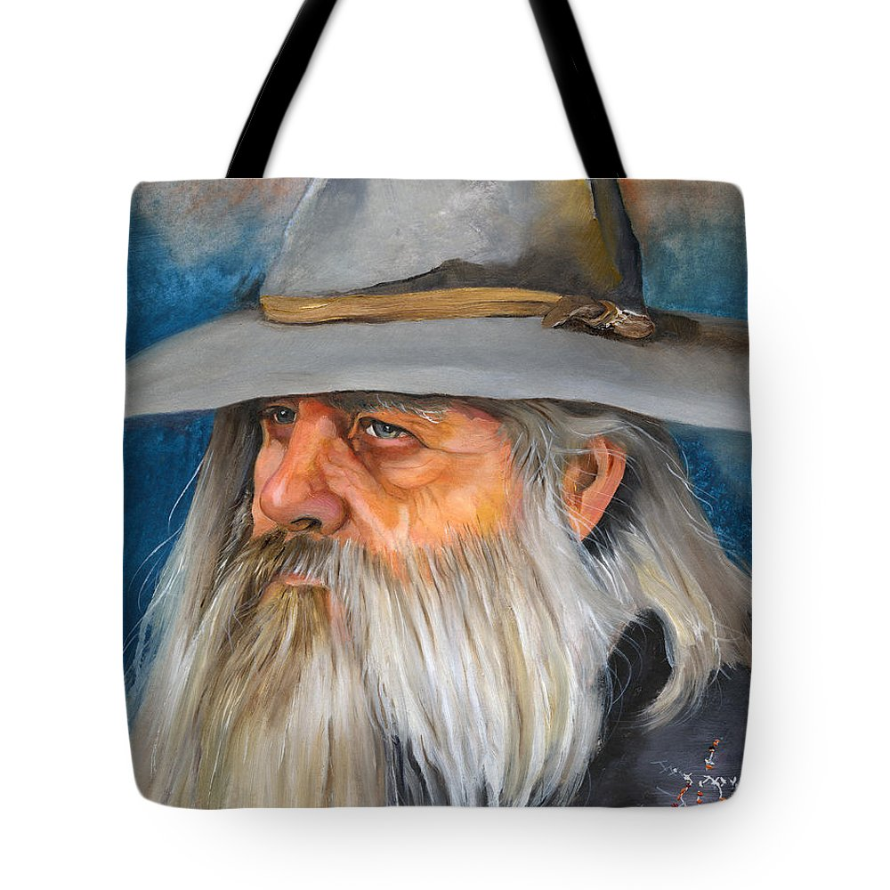 Wizard Tote Bag featuring the painting Grey Days by J W Baker