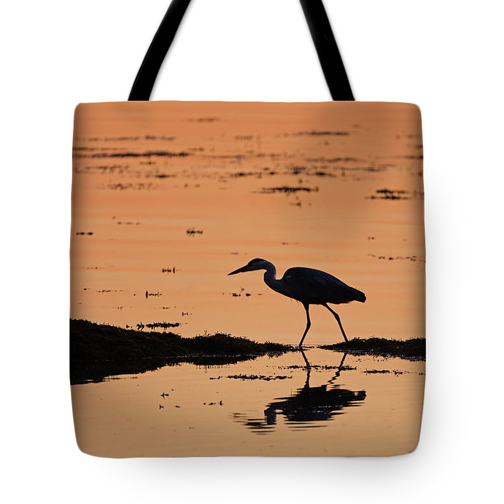 Grey Tote Bag featuring the photograph Grey Heron Sunset by Peter Walkden