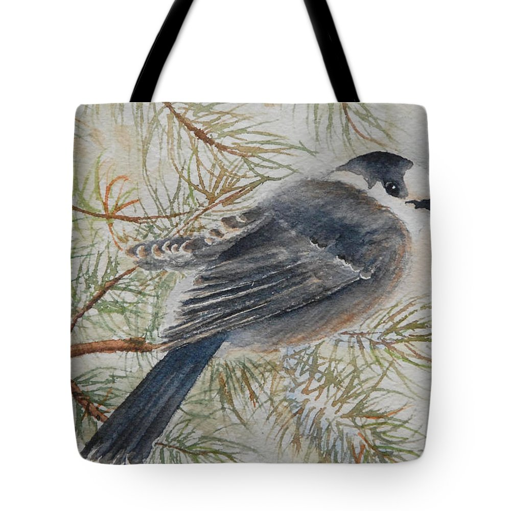 Bird Tote Bag featuring the painting Grey Jay by Ruth Kamenev