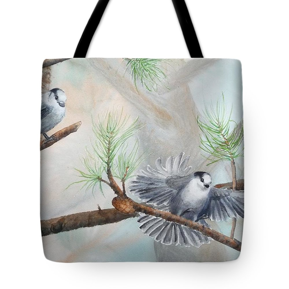 Grey Jay Tote Bag featuring the painting Grey Jays In A Jack Pine by Ruth Kamenev